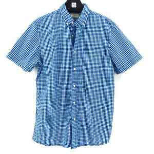 Hawker Rye Men's Short Sleeve Blue Plaid Button Up Size Tall Large