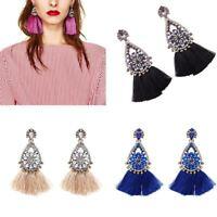Women Boho Luxury Crystal Tassel Chandelier Long Dangle Drop Earrings Jewelry