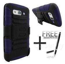 FOR SAMSUNG GALAXY GRAND 2 NAVY BLUE RUGGED ARMOR PHONE CASE W/ HOLSTER + STYLUS