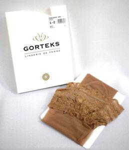GORTEKS Stockings Stay Ups Dentelle Size 1-2/ XS-S / 36-38 Color Flesh Plain
