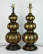 Mid Century Lamps Triple Gourd Ribbed Bronze Gold Finish Vtg Pair Set