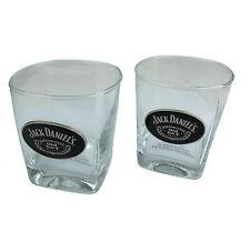 JACK DANIELS Pewter Badge Spirit GLASS SET - Man Cave Pool Room Whiskey Bar