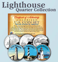 Historic American * LIGHTHOUSES * Colorized US Statehood Quarters 3-Coin Set #8