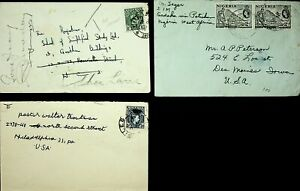 NIGERIA SET OF 3 COVERS W/ 4v TIN INDUSTRY MINING/ KGVI, 1 REDIRECTED TO USA