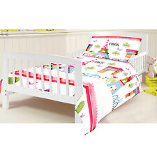 Cotbed Junior Duvet Cover Set Paris Children's Kids Toddler Cot Bed Bedding Girl