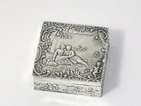 2 1/8 in - European Silver Antique German Hanau Dating Scenes Square Snuff Box