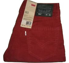 Neuf pour Hommes LEVI'S 511 Rouge Étroit Extensible Velours Côtelé Jeans W30 L30