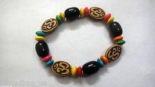 OM Bracelet with Black Beads Wristband Wristlet- Adjustable Stretchable-Hinduism