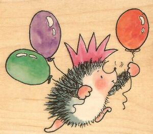Hedgehog Birthday Party King Wood Mounted Rubber Stamp PENNY BLACK 4323J New