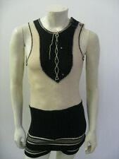 Vintage Men's 1910's 20's Wool Swimsuit Lace Up Front Size 36