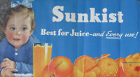 "1940s SUNKIST ORANGES STORE BABY DISPLAY POSTER 20x40"" California Fruit VINTAGE"