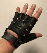 Genuine Leather Black Fingerless Mens Studded Gloves Medium Size Punk