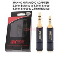 RANKO 2.5mm Balance to 3.5mm Stereo Plug Converter Adapter For Hifi Music Player