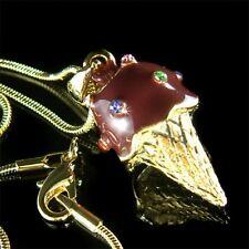 ~3D Chocolate ICE CREAM CONE made with Swarovski Crystal Charm GP Chain Necklace