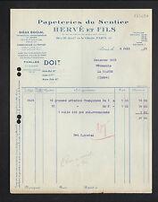 """PARIS (XIX°) USINE à PAPIER / PAPETERIES DU SENTIER """"HERVE & Fils"""" en 1936"""