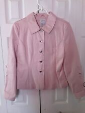 TOGETHER PINK LEATHER JACKET WITH CUT OUT FLORAL ON SLEEVES SIZE 10