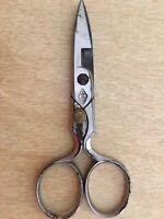 """Antique Vintage Sewing Notions Button Hole Scissors 4-1/2"""" Germany DE"""