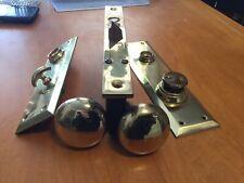 Vintage Corbin Passage Lockset w Polished Solid Brass Knobs & Escutcheons