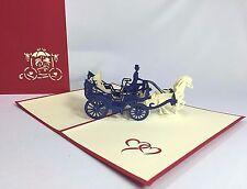 Wedding Carriage Pop Up Card. 3D Cinderella Wedding/Valentine's Day/Anniversary