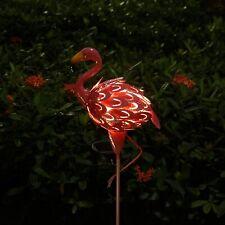 Metal Solar Flamingo Garden Decor Sculpture Yard Lawn Patio Home Statue Stake US