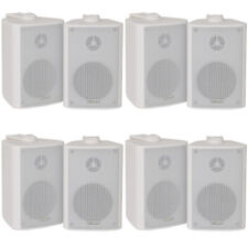 "8x 60W 2 Way White Wall Mounted Stereo Speakers - 3"" 8Ohm- Mini Background Music"