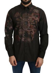DOLCE & GABBANA Shirt Brown Cotton Angel Print Top s. 42 / US16.5 / XL RRP $900