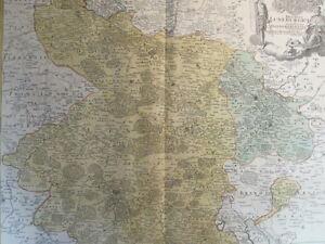 LÜNEBURG DANNEBERG HANNOVER ALTKOL KUPFERSTICH KARTE HOMANN 1720 AD #D975S