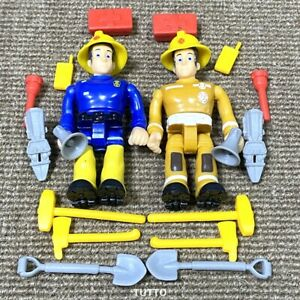 2X Fireman Sam Elvis PVC Figure With Accessory Cake Topper Playset Kid Toy Gift