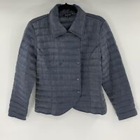 Samuel Dong Womens Coat Puffer Quilted Jacket Size M Iridescent Blue B8