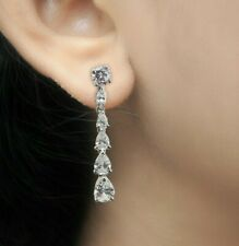 925 Sterling Silver Earrings CZ White Pear Graduated Earrings Special day Jewel