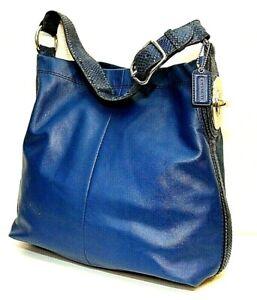 Coach Penelope Blue Leather Hobo Shoulder Bag  #16535