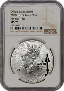 2020 OFFICIAL MINT MEDAL 1OZ S.KOREA SILVER KOREAN TIGER NGC MS 70 FINEST KNOWN.