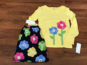 NWT Gymboree Showers of Flowers Yellow Flower Top & Navy Flower Skirt Size 7