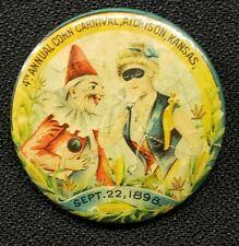 "1898 Corn Carnival Atchison KS PIN Pinback WHITEHEAD & HOAG CO 1 3/4"" RARE Find"