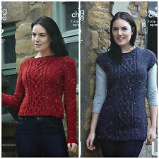 KNITTING PATTERN Ladies Cable Jumper & Cable Tunic/Dress Chunky King Cole 4040