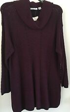 eight eight eight Plus 1X framboise Sweater Tunic shade of Purple and Dark Blue
