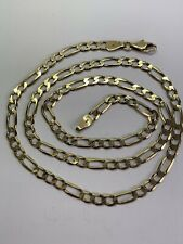 SOLID 9CT YELLOW GOLD FIGARO CHAIN - 19 INCHES