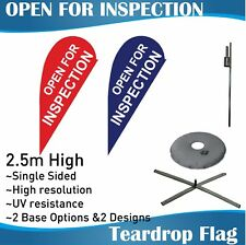 2.5m Outdoor OPEN FOR INSPECTION Teardrop Banner Teardrop Flags with Base