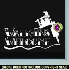 TATTOO WALK-INS WELCOME #2 Vinyl Decal Sticker Shop Ink Machine Window Door Sign