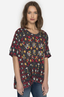💕 JOHNNY WAS Embroidered SIYBLL BLOUSE Shorter Sleeve Floral Tunic L $258 💕