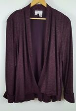 Womens plus  2X Betsy Lauren unconstructed blazer red sparkly holiday light wrap