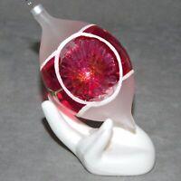 Christmas Ornament KURT ADLER Glass INDENT UNSILVERED Tear Drop Red USA SELLER
