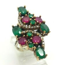 Fine Emerald Ruby Pave Sterling Silver 925 Ring 10g Sz.7.25 RET256