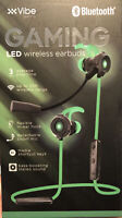 Xvibe Gaming LED Wireless Earbuds With Boom Mic Sealed Black & Green