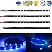 "4pcs 30cm/12"" 5050 LED Car Motor Truck Boat Flexible Strip Light Waterproof Blue"