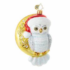 1018911 Christopher Radko HOOO Knew? Snowy Owl on Crescent Moon Glass Ornament