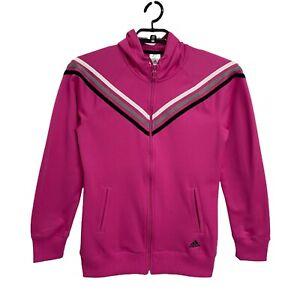 Adidas women's track sport wear jacket pink hoodie full zip size Small