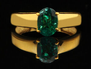 1.20Ct Oval Cut Natural Zambian Green Emerald Women's Ring In 14KT Yellow Gold