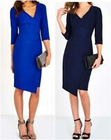 New Ex Wallis Navy or Royal Blue Fixed Wrap Side Ruched Dress RRP £35