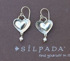 SILPADA Sterling Silver Textured Heart Pearl Dangle Earrings on Wires W2049 HTF
